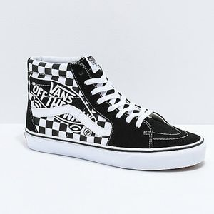 Vans Sk8-Hi Checkerboard Patch Black & White }